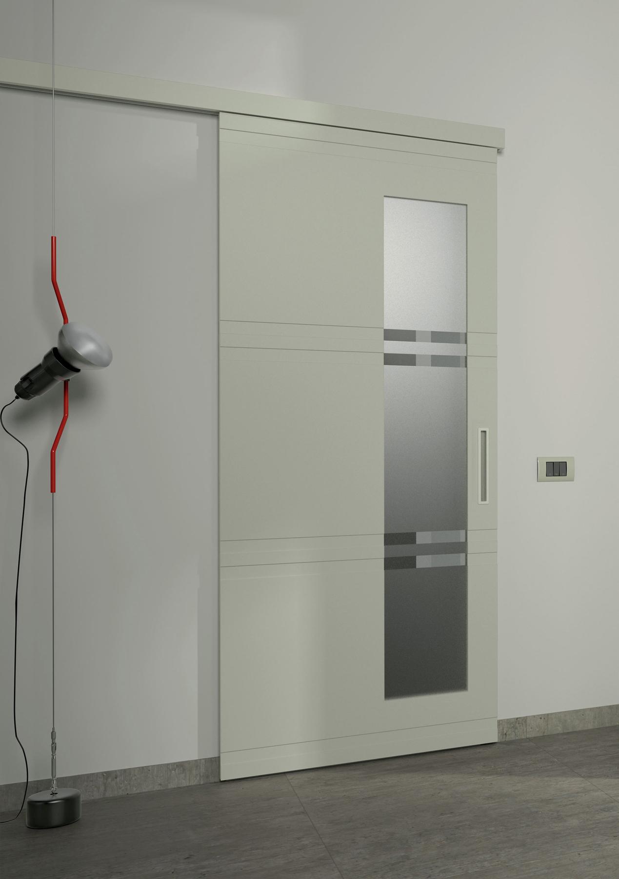 """Eccezionale Porta In Legno Tortora Scorrevole Con Vetro Satinato """"Flessya  BD48"""